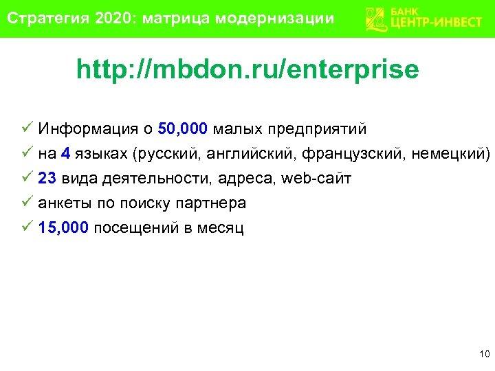 Стратегия 2020: матрица модернизации http: //mbdon. ru/enterprise ü Информация о 50, 000 малых предприятий