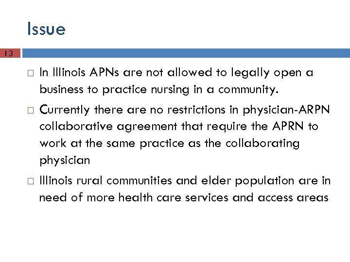 Issue 13 In Illinois APNs are not allowed to legally open a business to