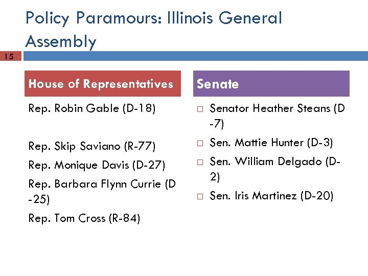 Policy Paramours: Illinois General Assembly 15 House of Representatives Senate Rep. Robin Gable (D-18)