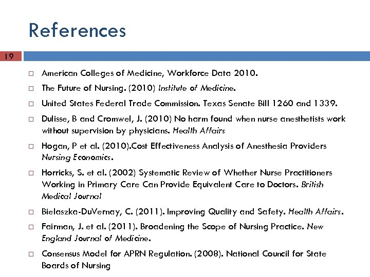 References 19 American Colleges of Medicine, Workforce Data 2010. The Future of Nursing. (2010)