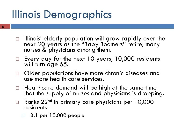 Illinois Demographics 6 Illinois' elderly population will grow rapidly over the next 20 years