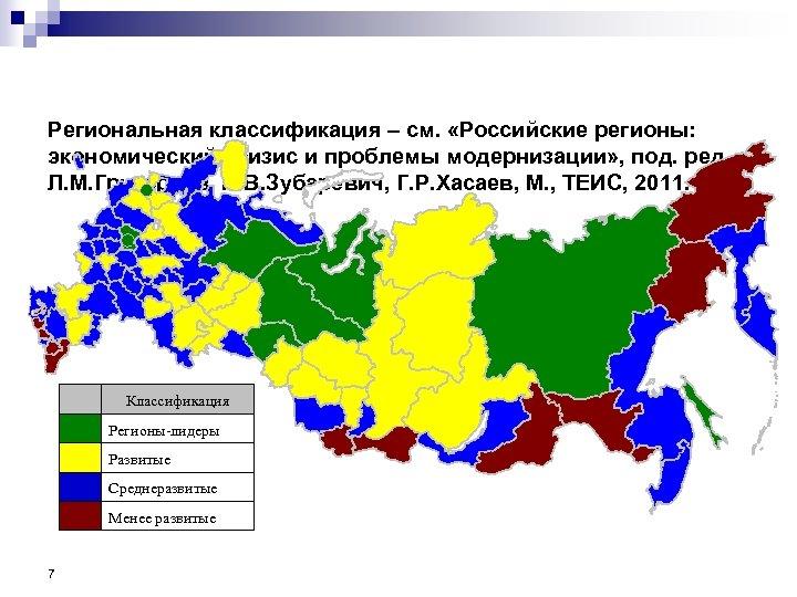 Региональная классификация – см. «Российские регионы: экономический кризис и проблемы модернизации» , под. ред.