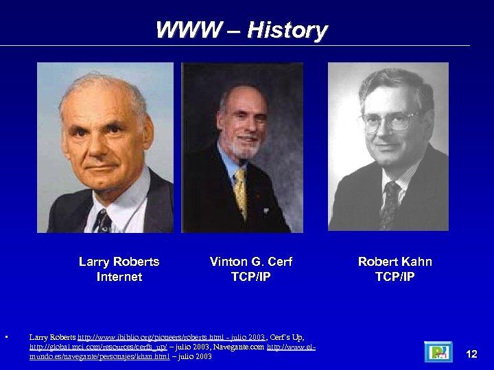 WWW – History Larry Roberts Internet • Vinton G. Cerf TCP/IP Larry Roberts http: