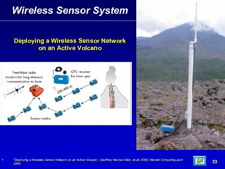 "Wireless Sensor System Deploying a Wireless Sensor Network on an Active Volcano • ""Deploying"