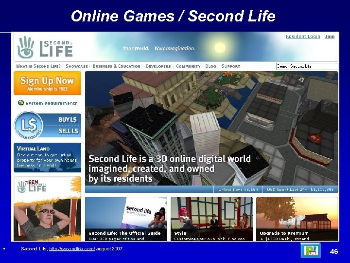 Online Games / Second Life • Arpanet architecture (1969) Second Life, http: //secondlife. com/