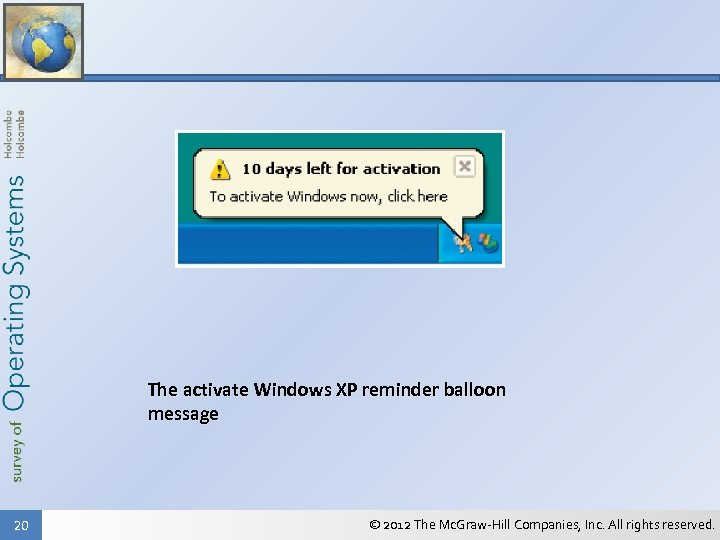 The activate Windows XP reminder balloon message 20 © 2012 The Mc. Graw-Hill Companies,