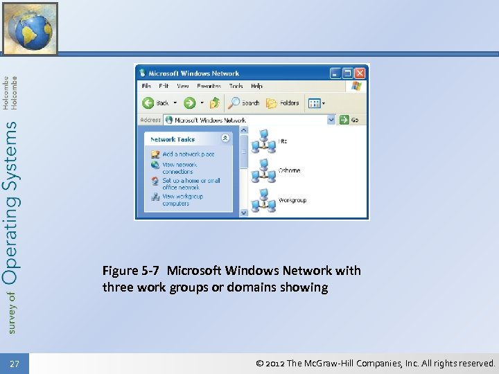 Figure 5 -7 Microsoft Windows Network with three work groups or domains showing 27