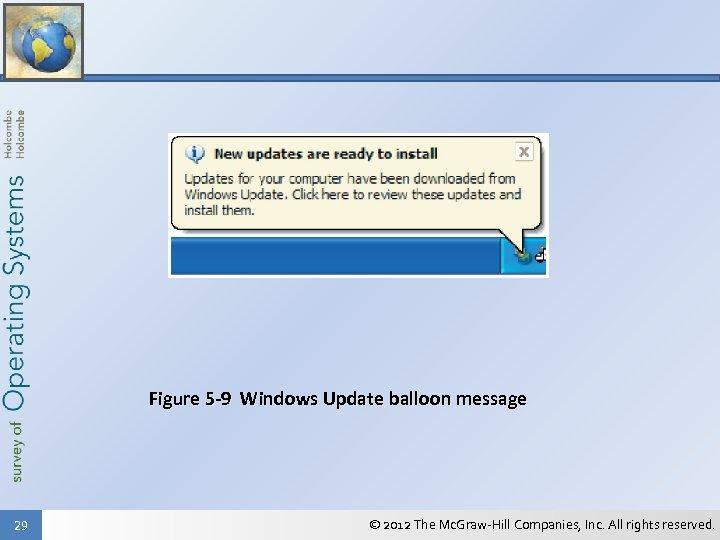 Figure 5 -9 Windows Update balloon message 29 © 2012 The Mc. Graw-Hill Companies,