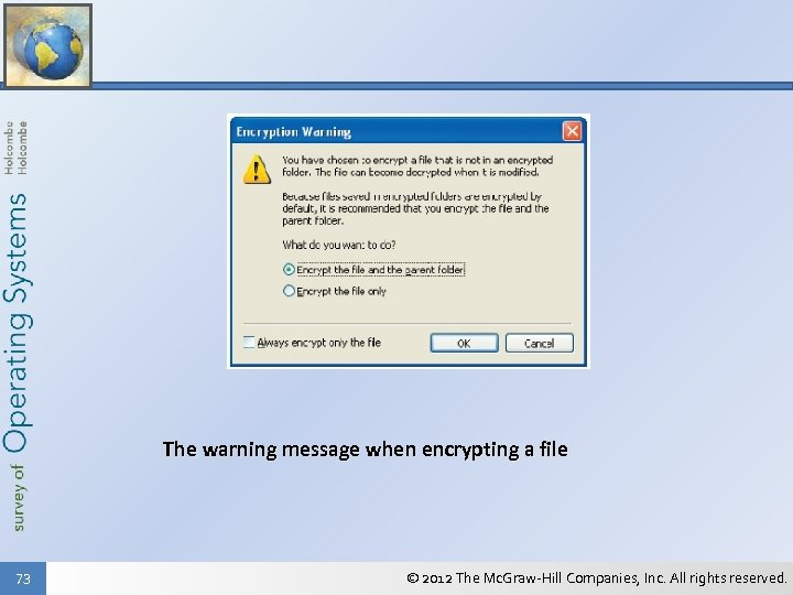 The warning message when encrypting a file 73 © 2012 The Mc. Graw-Hill Companies,