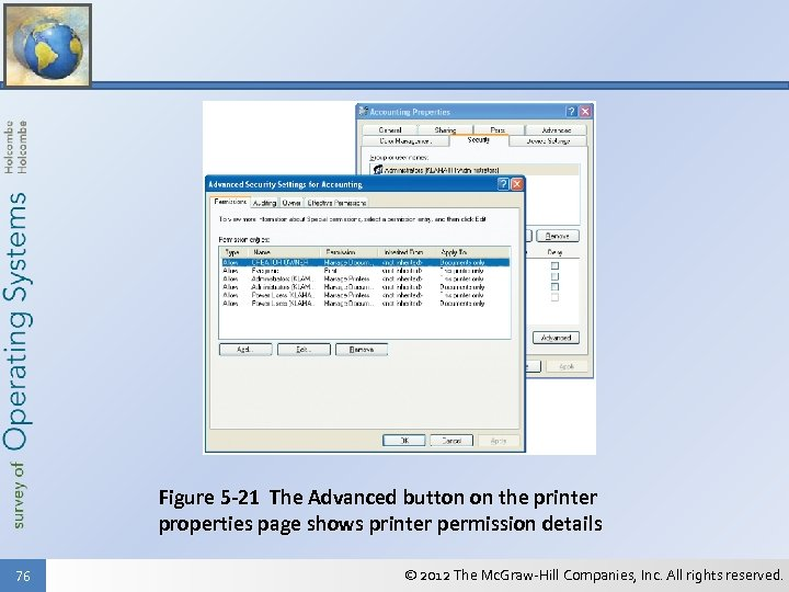 Figure 5 -21 The Advanced button on the printer properties page shows printer permission