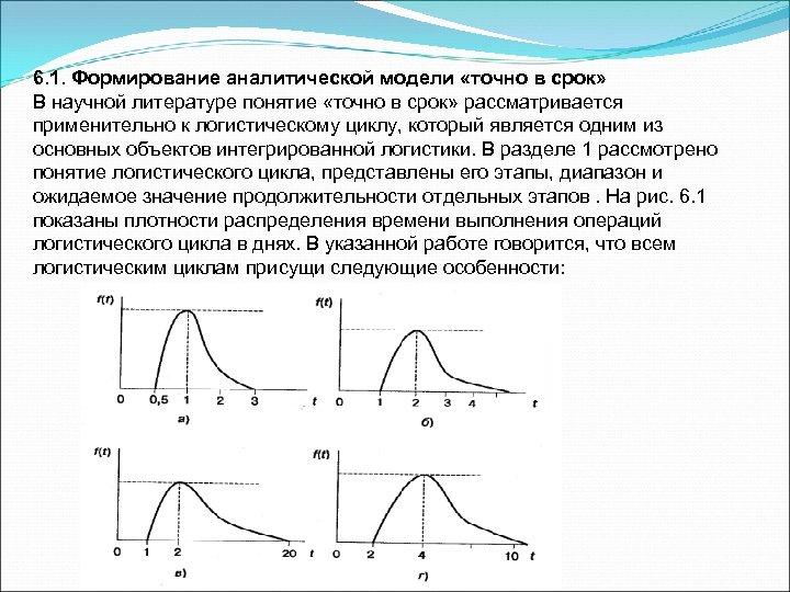 6. 1. Формирование аналитической модели «точно в срок» В научной литературе понятие «точно в