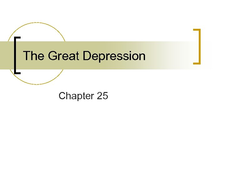 The Great Depression Chapter 25