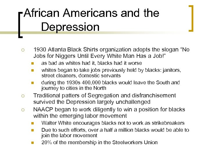 African Americans and the Depression ¡ 1930 Atlanta Black Shirts organization adopts the slogan
