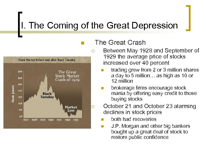 I. The Coming of the Great Depression The Great Crash n ¡ Between May