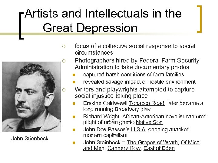 Artists and Intellectuals in the Great Depression ¡ ¡ focus of a collective social