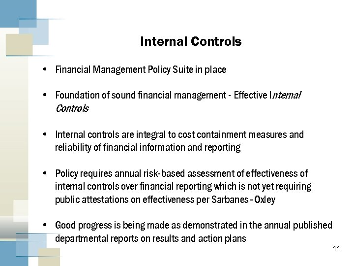 Internal Controls • Financial Management Policy Suite in place • Foundation of sound financial