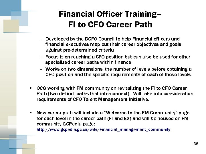 Financial Officer Training– FI to CFO Career Path – Developed by the DCFO Council