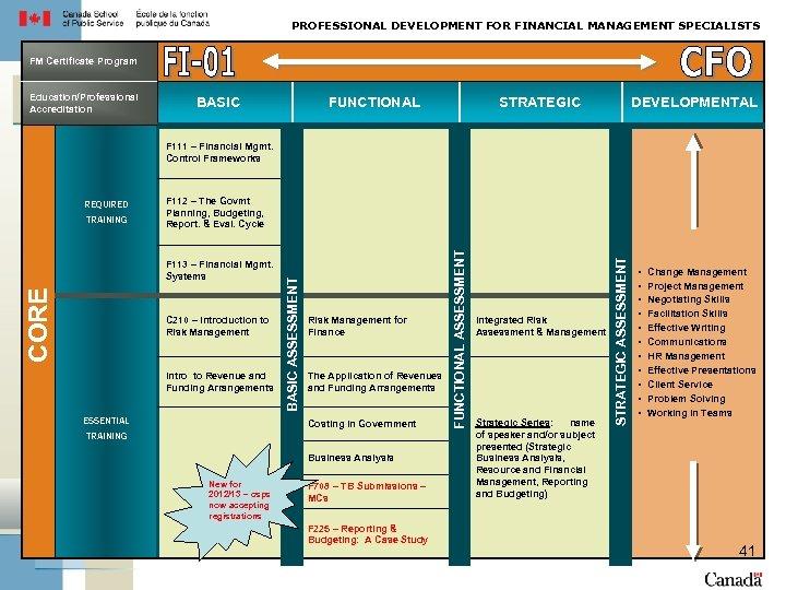 PROFESSIONAL DEVELOPMENT FOR FINANCIAL MANAGEMENT SPECIALISTS FM Certificate Program Education/Professional Accreditation BASIC FUNCTIONAL STRATEGIC
