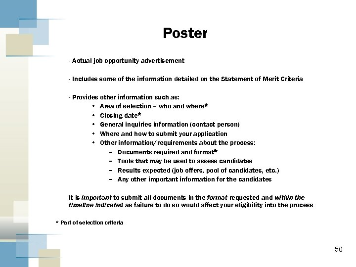 Poster - Actual job opportunity advertisement - Includes some of the information detailed on