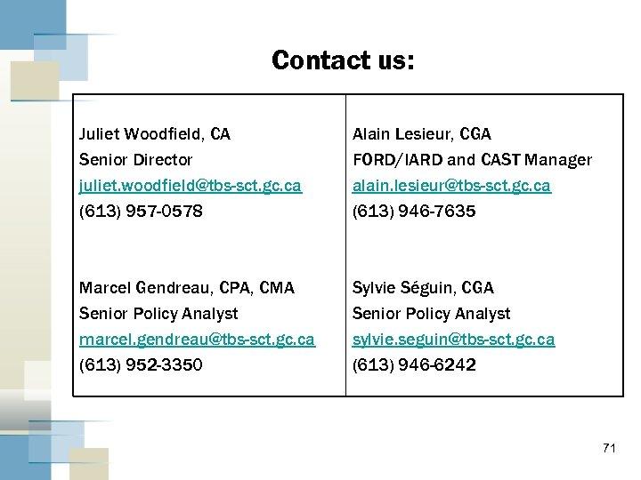 Contact us: Juliet Woodfield, CA Senior Director juliet. woodfield@tbs-sct. gc. ca (613) 957 -0578