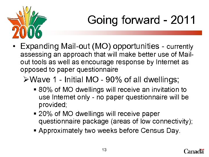 Going forward - 2011 • Expanding Mail-out (MO) opportunities - currently assessing an approach