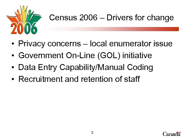 Census 2006 – Drivers for change • • Privacy concerns – local enumerator issue