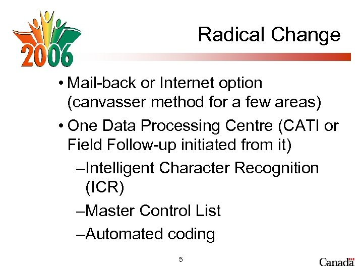 Radical Change • Mail-back or Internet option (canvasser method for a few areas) •