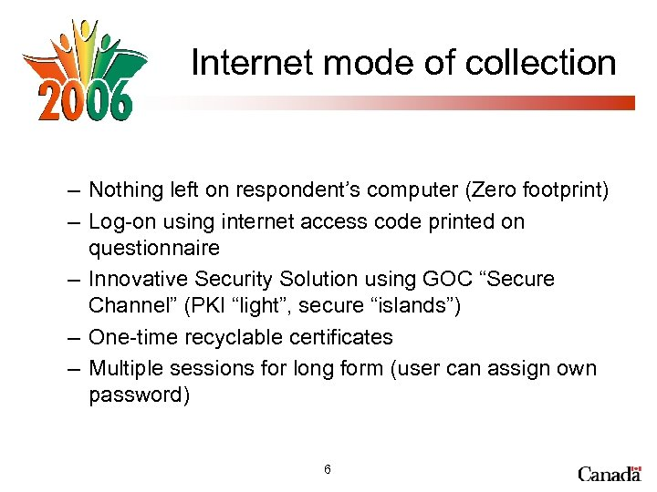 Internet mode of collection – Nothing left on respondent's computer (Zero footprint) – Log-on