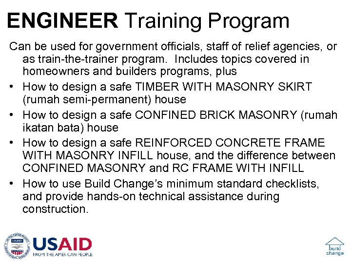 ENGINEER Training Program Can be used for government officials, staff of relief agencies, or