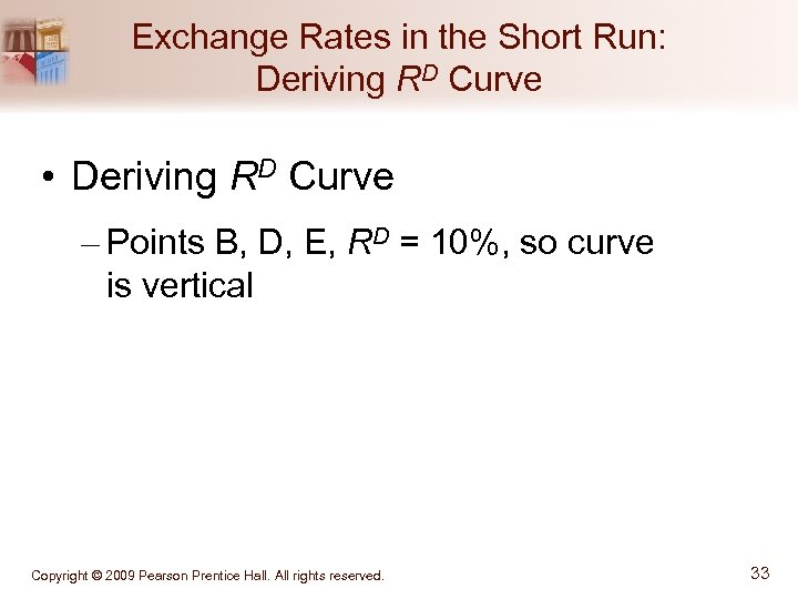 Exchange Rates in the Short Run: Deriving RD Curve • Deriving RD Curve –