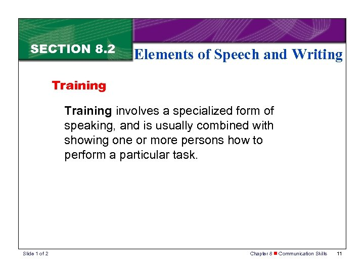 SECTION 8. 2 Elements of Speech and Writing Training involves a specialized form of