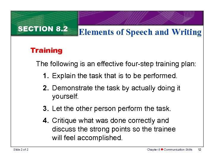 SECTION 8. 2 Elements of Speech and Writing Training The following is an effective