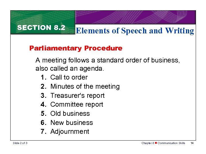 SECTION 8. 2 Elements of Speech and Writing Parliamentary Procedure A meeting follows a