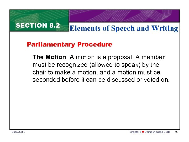 SECTION 8. 2 Elements of Speech and Writing Parliamentary Procedure The Motion A motion