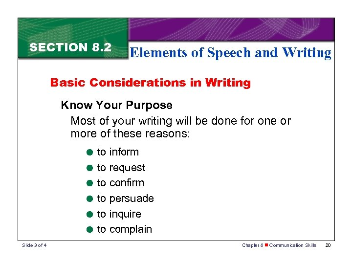 SECTION 8. 2 Elements of Speech and Writing Basic Considerations in Writing Know Your