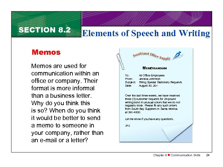SECTION 8. 2 Elements of Speech and Writing Memos are used for communication within