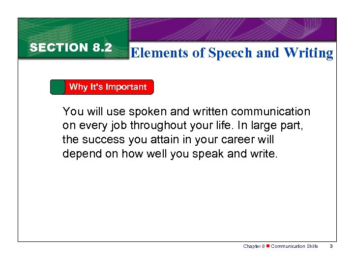 SECTION 8. 2 Elements of Speech and Writing Why It's Important You will use