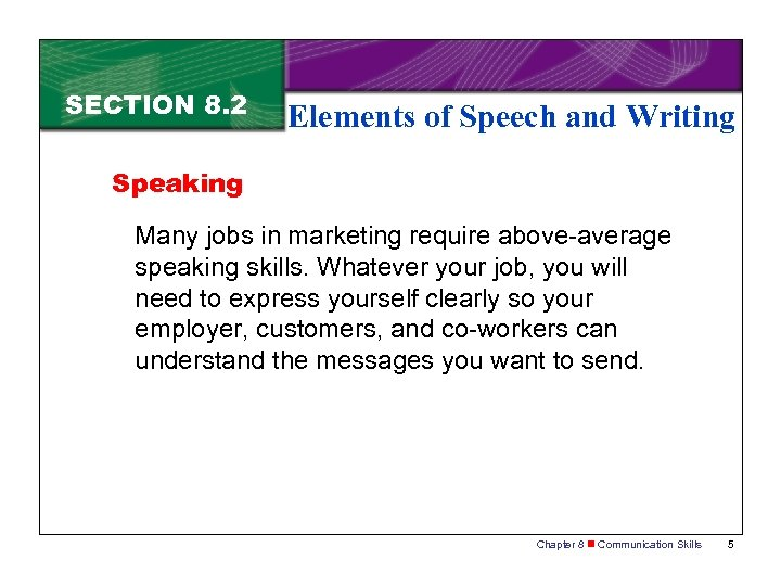 SECTION 8. 2 Elements of Speech and Writing Speaking Many jobs in marketing require