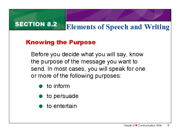 SECTION 8. 2 Elements of Speech and Writing Knowing the Purpose Before you decide