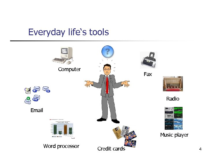Everyday life's tools Computer Fax Radio Email Music player Word processor Credit cards 4