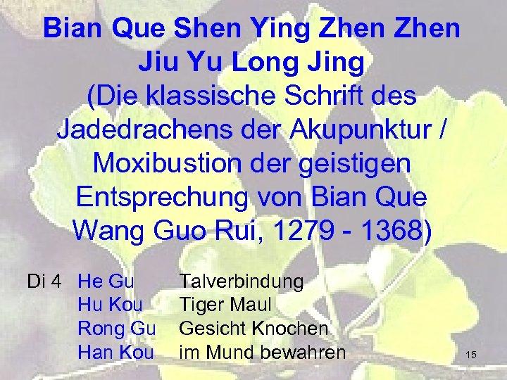 Bian Que Shen Ying Zhen Jiu Yu Long Jing (Die klassische Schrift des Jadedrachens