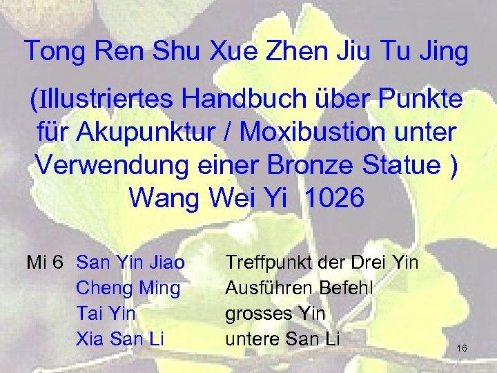 Tong Ren Shu Xue Zhen Jiu Tu Jing (Illustriertes Handbuch über Punkte für Akupunktur
