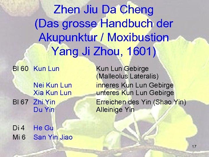 Zhen Jiu Da Cheng (Das grosse Handbuch der Akupunktur / Moxibustion Yang Ji Zhou,