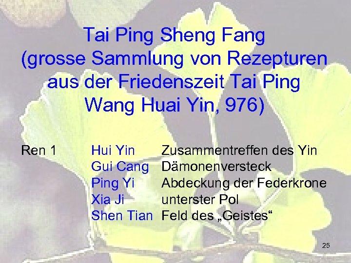 Tai Ping Sheng Fang (grosse Sammlung von Rezepturen aus der Friedenszeit Tai Ping Wang