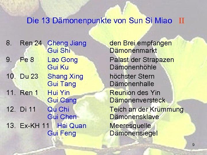 Die 13 Dämonenpunkte von Sun Si Miao II 8. 9. 10. 11. 12. 13.