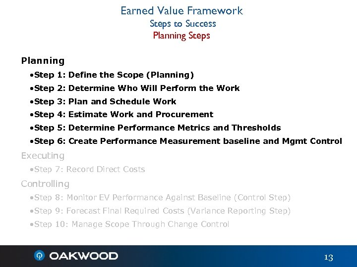 Earned Value Framework Steps to Success Planning Steps Planning • Step 1: Define the
