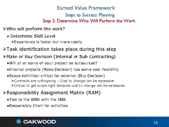 Earned Value Framework Steps to Success: Planning Step 2: Determine Who Will Perform the