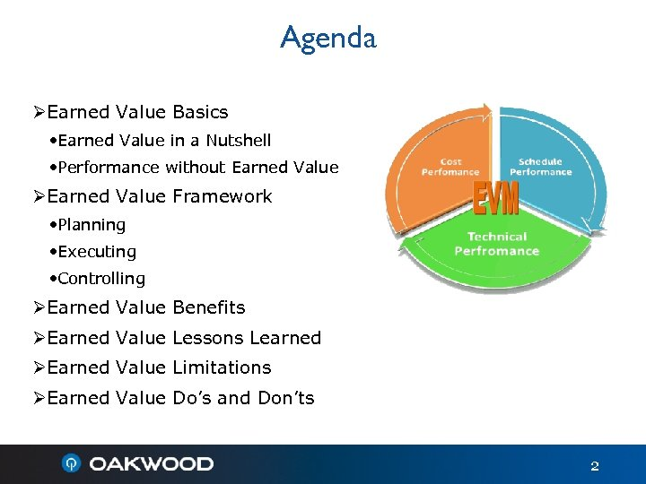 Agenda ØEarned Value Basics • Earned Value in a Nutshell • Performance without Earned
