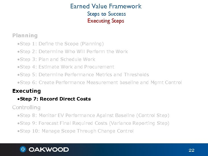 Earned Value Framework Steps to Success Executing Steps Planning • Step 1: Define the