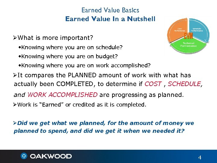 Earned Value Basics Earned Value In a Nutshell ØWhat is more important? • Knowing